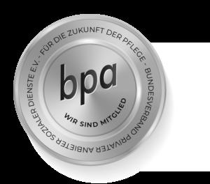 Plakette für die Mitgliedschaft im Bundesverband privater Anbieter sozialer Dienste e.V.